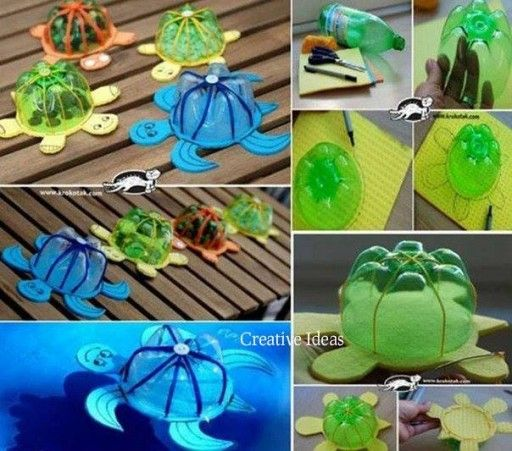 How to make turtle arts from recycled plastic bottles step by step DIY tutorial instructions