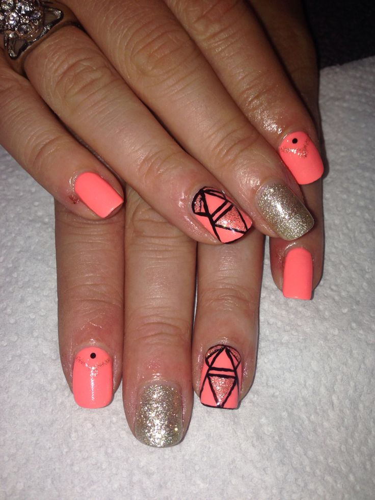 Orange and gold gel polish with hand painted nail art X