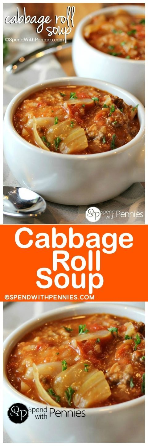 Cabbage Roll Soup is my favorite way to enjoy cabbage rolls! Loads of cabbage, meat and rice in a flavorful tomato broth make the perfect comfort food ... #Soup #Stews #Chili #Recipe #Food