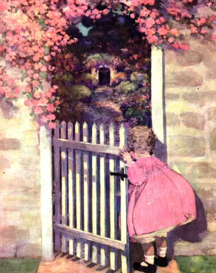 1922 Jessie Willcox Smith illustration showing the type of wall, gate, climbing plant and garden of 1922. (American)
