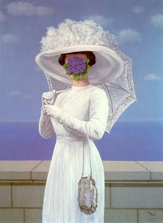 Magritte saw his drowned mother drug out of river as a child, his mother's dress was up and covering her face, this Rene had a thing for covering faces in ironic ways....did you know that?