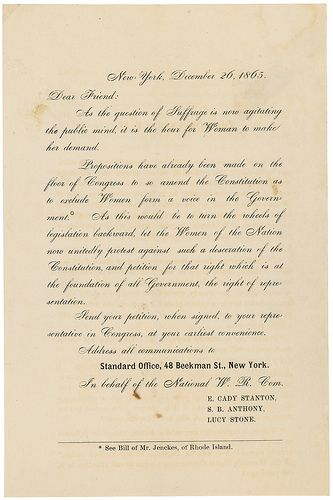 Form Letter From E Cady Stanton Susan B Anthony And
