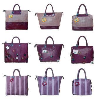 Violetista viehättyvä tykästyy varmasti Gabsin G3-sarjan Eline-laukkuun (ylärivi), Fioriin (keskellä) tai Righe-kassiin (alarivi)!