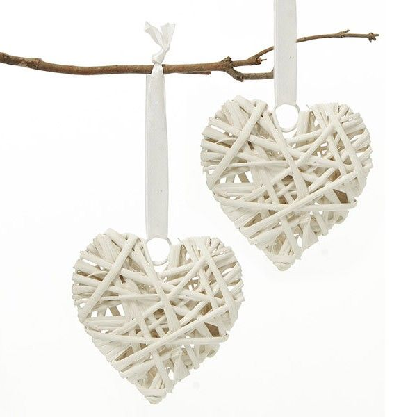 White Rattan Heart Decoration