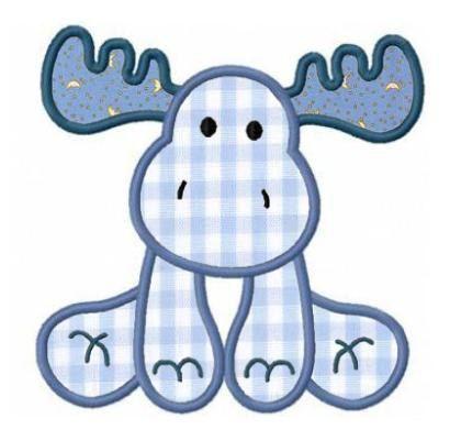 Moose applique machine embroidery design