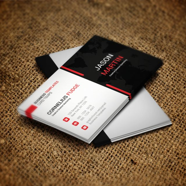 Black Brand Business Card Business Clean Cmyk Color Corporate Creative Desi Media Business Cards Social Media Business Cards Vector Business Card