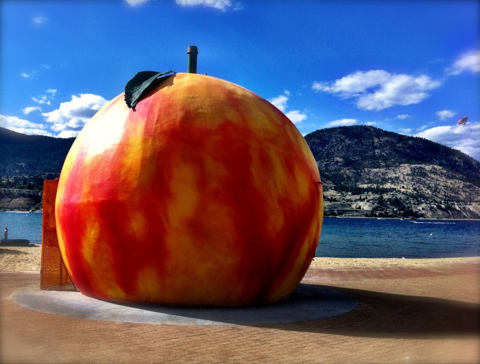 Penticton, British Columbia. Nothing like a giant peach on the beach!
