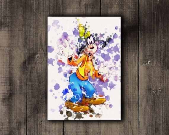 Printable Disney Goofy Watercolor Print Nursery by CoffeeLoffe