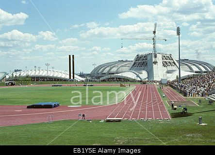 1976 Olympics in Montreal, Canada, unfinished stadium and grounds Stock Photo