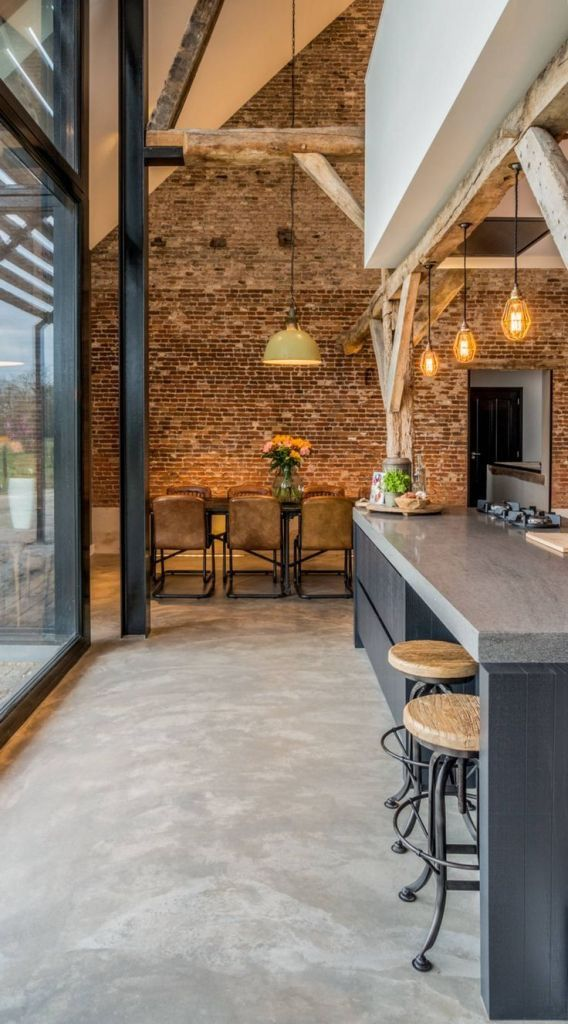 Kitchen Extension Double Height Oak Trusses Exposed Brick Wall
