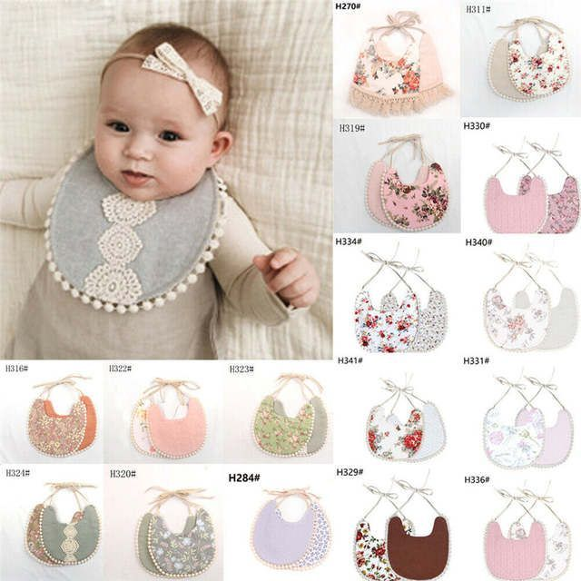Cute Cotton Lace Baby Bibs Boy Girl Saliva Towel Kids Toddler Feeding Bib W