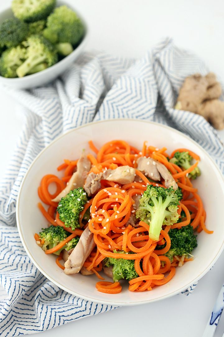 Sesame-Ginger Garlic Chicken and Broccoli Carrot Noodle Stir Fry (chicken and tofu options)