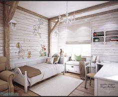Декоративные балки в интерьере детской комнаты. Мебель в стиле прованс. Фото