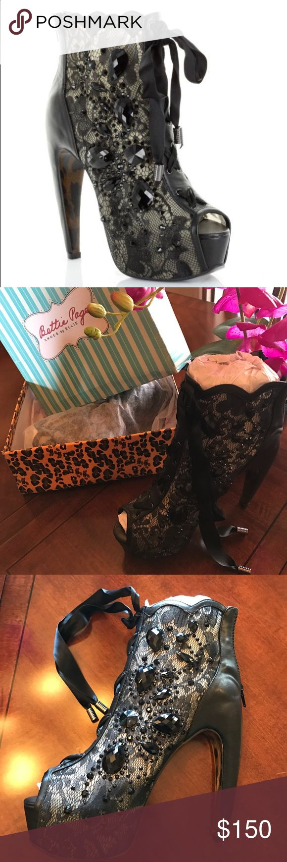 👠BETTIE PAGE LULA HEELS - NEW IN BOX👠 Absolutely GORGEOUS Black Bettie Page ankle booties! Stunning! Brand new in box with shoe cover bags! Ordered them online but my foot cannot wear such a steep heel...broke my heart! My loss is your gain! Also fits a little small! Bettie Page Shoes Ankle Boots & Booties