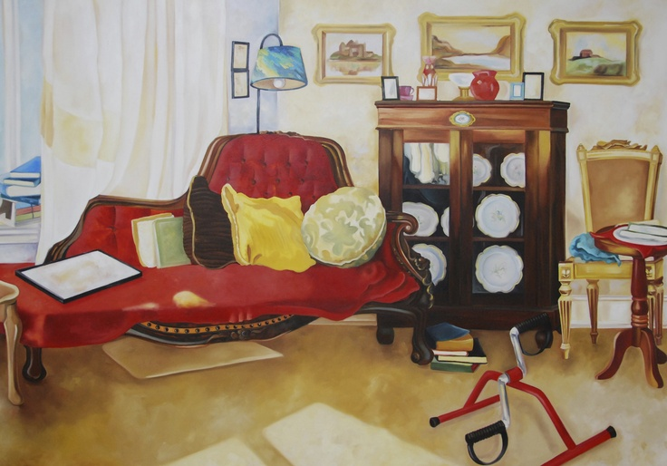 the Living room of the yellow haired old woman, oil on canvas