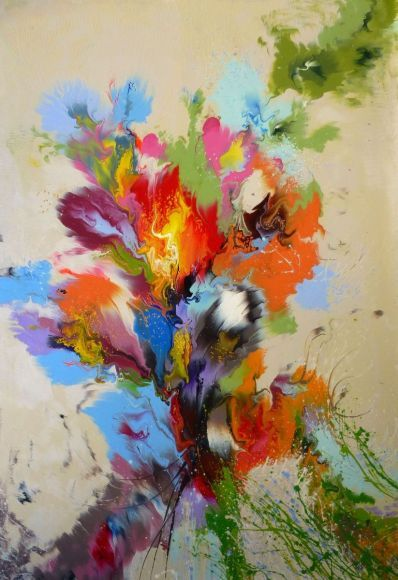 """EXTRA LARGE Abstract Painting on canvas """"Abstract flowers"""" 140 x 92 cm"""