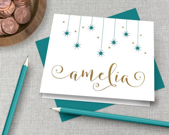 Personalized Stationery / Personalized Stationary Set / Custom Monogram Note Card / Gold Calligraphy Stationary / Personalized Thank You