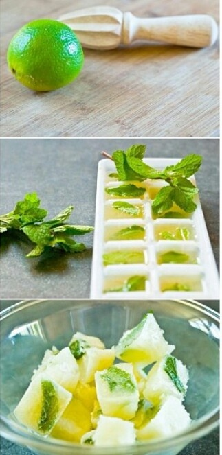 Enjoy these lemon and mint ice cubes in ur drink...perfect for a hot summer day