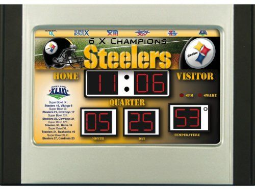 NFL Scoreboard Desk & Alarm Clocks  http://allstarsportsfan.com/product/nfl-scoreboard-desk-alarm-clocks/  Shows the time, date, temperature Features four alarm settings 6.5″x9″ in size