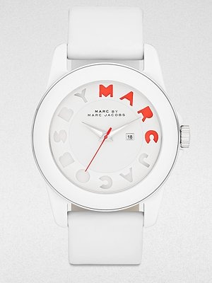 Marc by Marc Jacobs Logo Accented Acetate Date-Function Watch/White