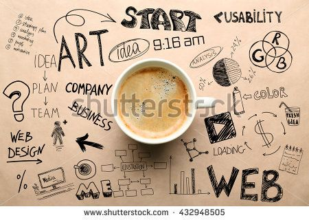 Cup of coffee, top view. Start up concept