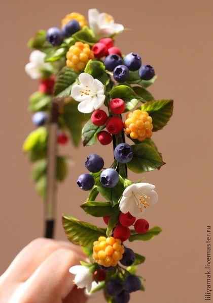 """Диадемы, обручи ручной работы. Ярмарка Мастеров - ручная работа Ободок """"Лесная ягодка"""". Handmade."""