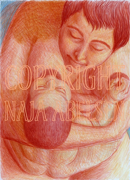 """""""Livgiver"""" meaning Lifegiver. Breastfeeding is wonderful, necessary, also for the psychological development of the child. It is healing for the soul... 30 x 42 cm. Colour pencil. 2012. Art by greenlandic artist Naja Abelsen, Denmark. Available as A3-photoprint 400 DKK / 54 Euro. www.najaabelsen.dk"""