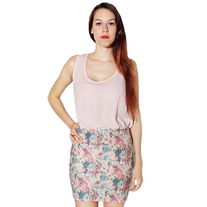 Falda de cremalleras con estampado de flores.
