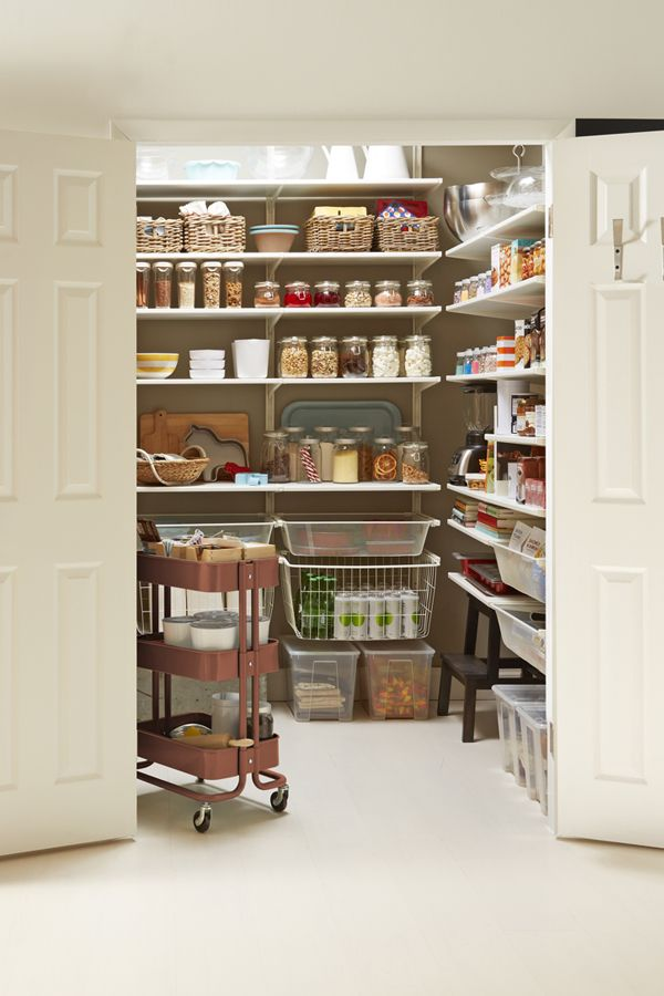"Hosting the holidays this year? Storing ""dinner for ten"" groceries neatly in your pantry is possible with a little IKEA organization! Find IKEA food storage and more ideas to prep and cook your holiday feast in our Holiday Prep Guide."