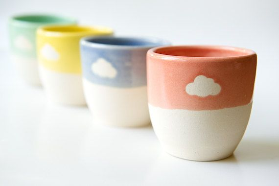 Espresso Cup Set of 4- Coffee in the Clouds- Mint and Coral Yellow and Blue- Handmade Ceramics by RossLab