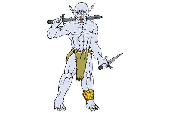 Cartoon style illustration of an orc warrior with nose ring holding a sword and dagger viewed from front on isolated background. The zipped file includes editable vector EPS, hi-res JPG and