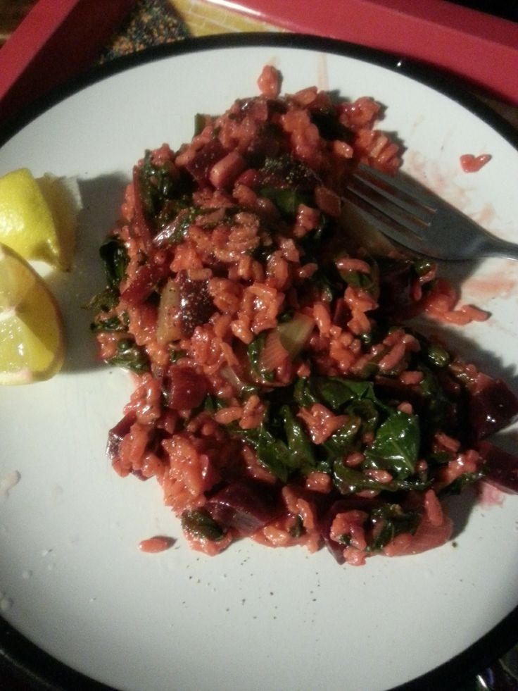 Yummy beetroot risotto from the #nationalvegetarianweek post. View the recipe here... http://monsoonofrandom.wordpress.com/2014/05/21/random-eats-beetroot-spinach-risotto-gluten-free-vegan/