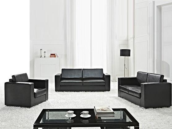 Sitzgruppe - Ledersofa - Couch - Sofa aus Rindsleder in schwarz HELSINKI