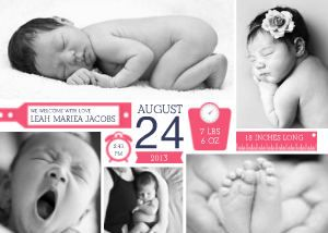 Whimsy Collage Girls Birth Announcements