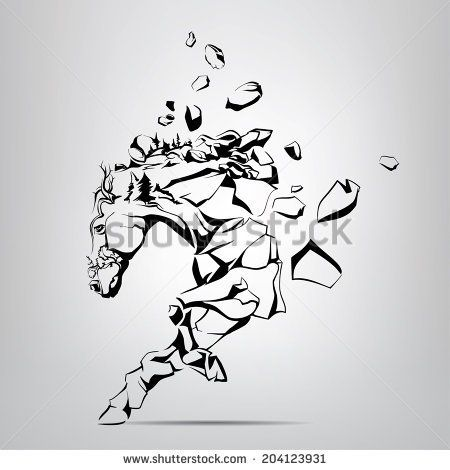 Silhouette of a running mustang from rocks. Vector illustration