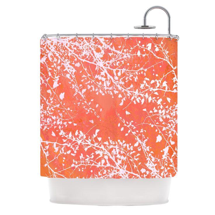 "Iris Lehnhardt ""Twigs Silhouette Coral"" Orange Shower Curtain from KESS InHouse"
