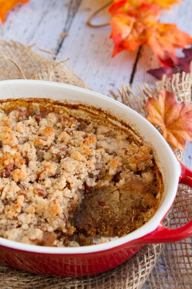 Pumpkin Spice Latte Quinoa Breakfast Casserole with a vegan, grain-free crunchy maple topping. Tomorrow's breakfast!