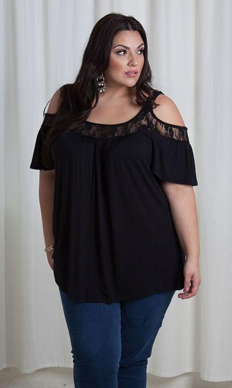 Curvalicious Clothes :: Plus Size Tops :: Stacy Cold Shoulder Top - Black