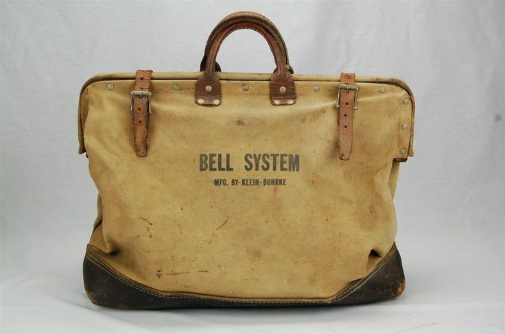 Klein Buhrke Bell System Lineman Tool Bag Canvas and Leather #KleinBuhrke