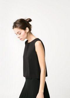 Leinen-T-Shirt mit Polstern - Damen - MANGO