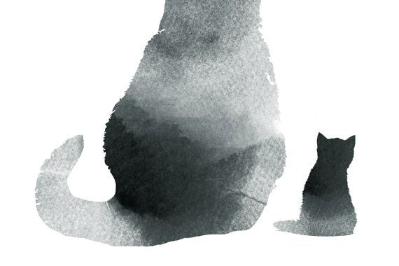 Afdrukken minimale van de kat van de zwarte kat door WhiteDoePrints