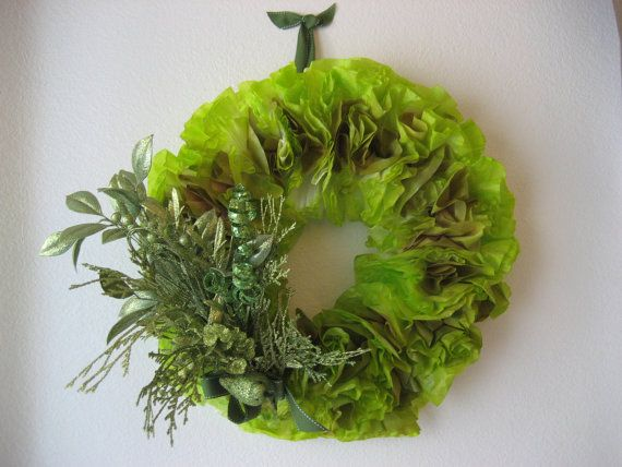 Lime Green Wreath Paper Wreath Coffee Filter Wreath by CarlasCraft