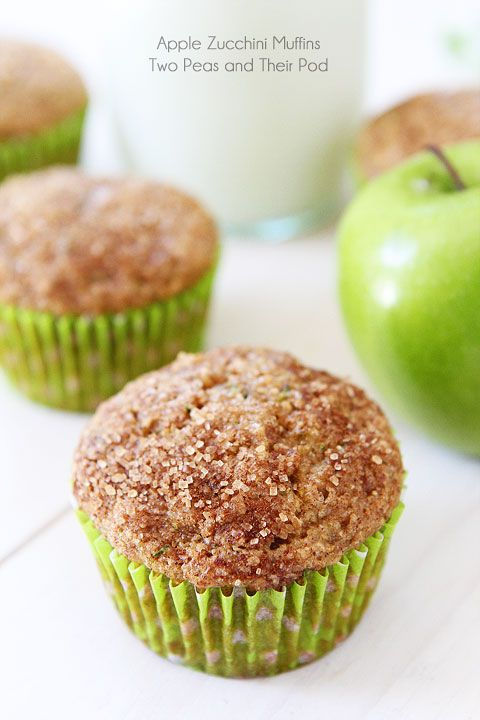 Apple Zucchini Muffins Recipe on twopeasandtheirpod.com Kids and adults love these healthy muffins! Easy to make too!