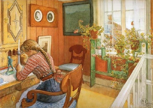 """Carl Larsson """"Brevskrivning"""" (1912). Ingrid som är dotter till en av familjens jungfrur skriver ett brev vid sekretären i Karins skrivrum. Under fönstret ses blomsterhyllan som Karin ritat. Akvarell. Nationalmuseum."""