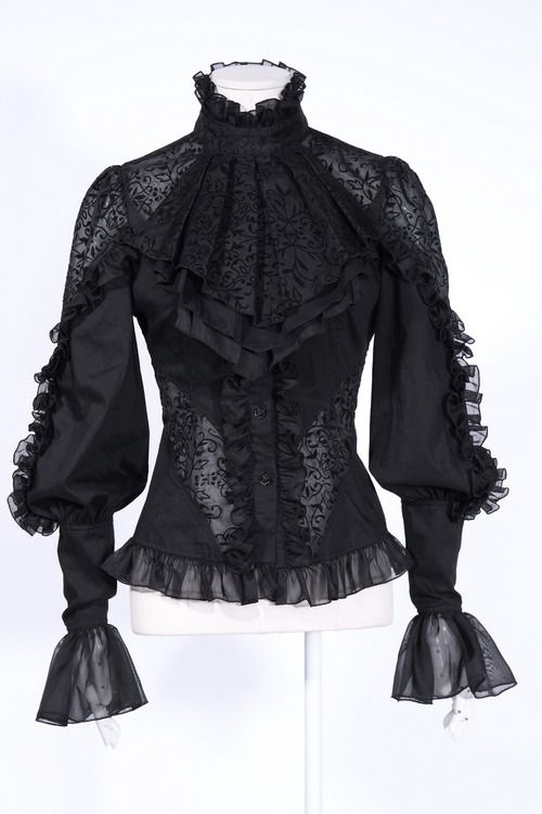 Black gothic lace blouse.
