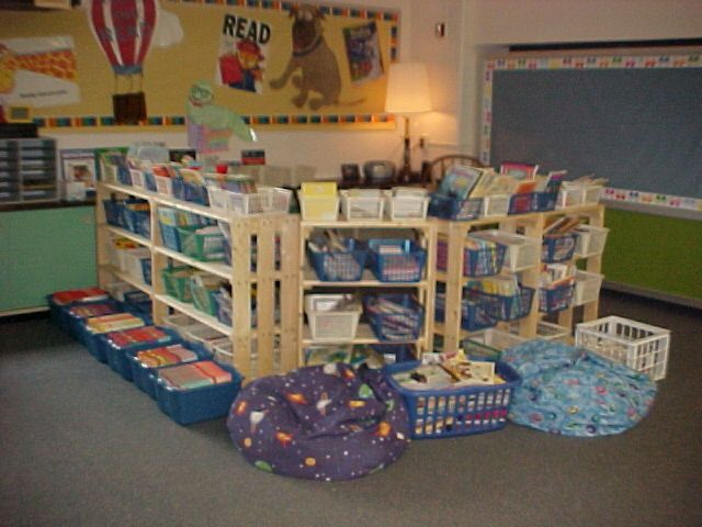 "Classroom library is on the ""outside"" and an area big enough for the whole class to fit in for a story is on the ""inside"". I love that."