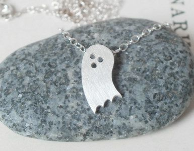 Tiny Ghost necklace in sterling silver, handmade in England £26.00