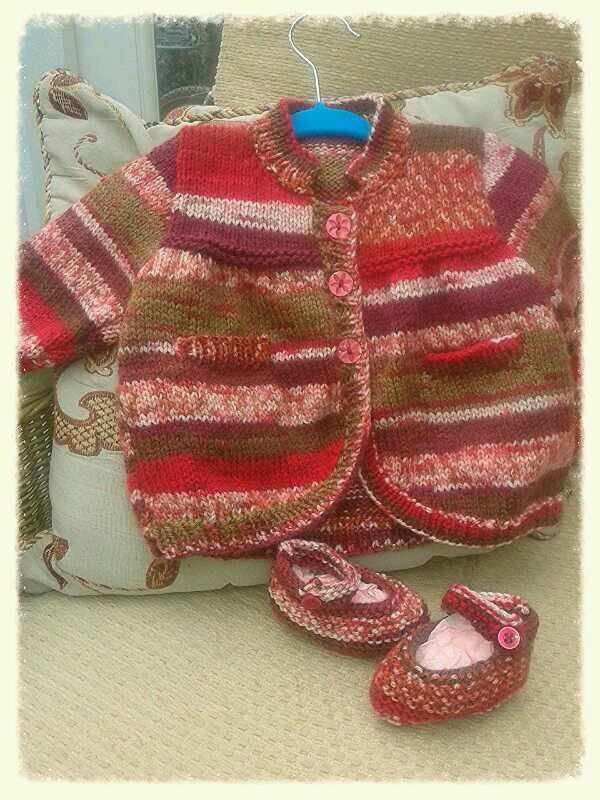Hand knitted cardigan duet