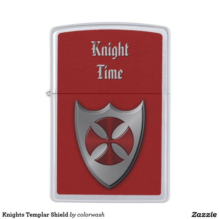 """Knights Templar Shield Zippo Lighter - Here's the perfect lighter for the history buff who loves medieval times and the Templars. """"Knight Time"""" can be edited to say what you wish. #Zippo #Templars"""