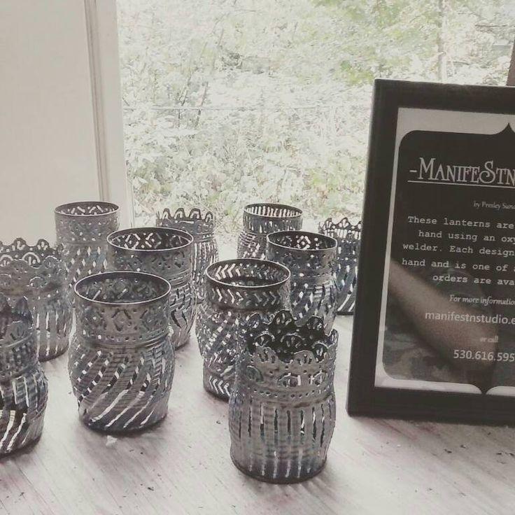 Lanterns Luminarias Metal candle holders Tin by ManifestStnStudio
